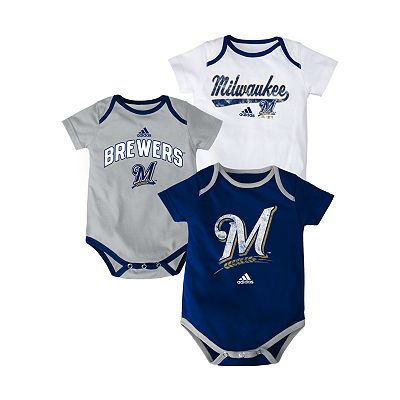 adidas Milwaukee Brewers 3-pk. Bodysuits - Baby