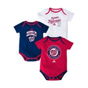 adidas Washington Nationals 3-pk. Bodysuits - Baby