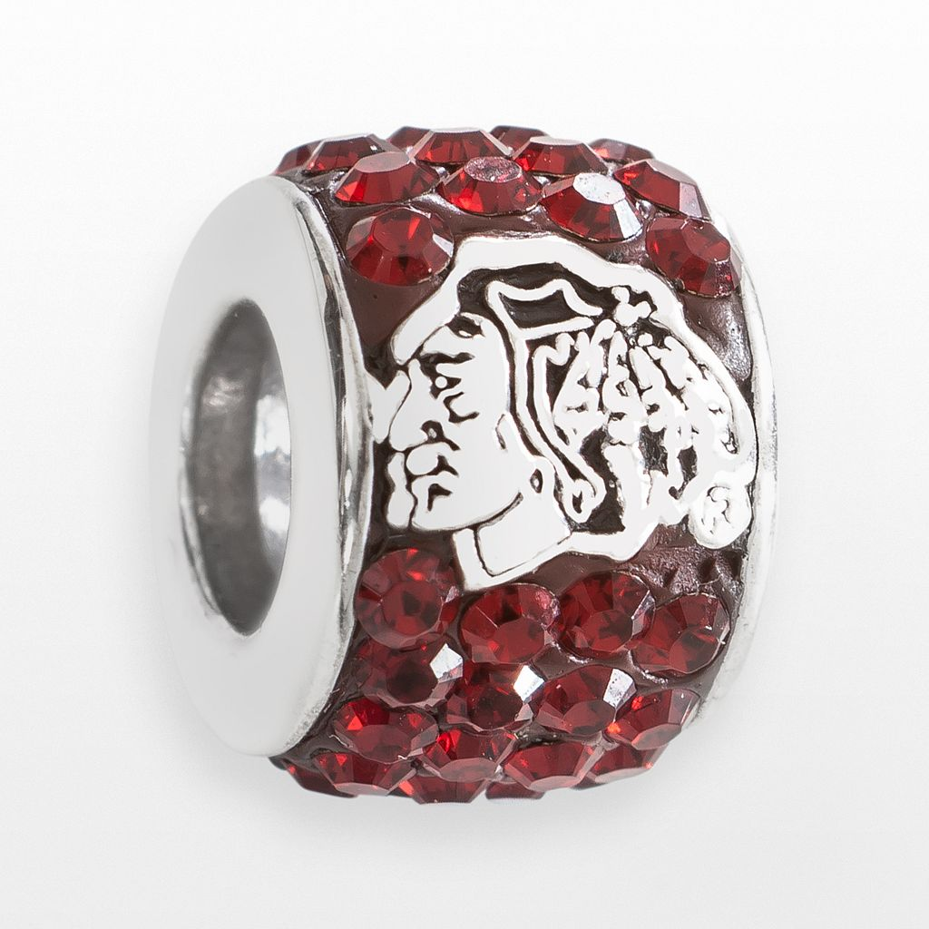 LogoArt Chicago Blackhawks Sterling Silver Crystal Logo Bead - Made with Swarovski Crystals