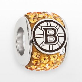 LogoArt Boston Bruins Sterling Silver Crystal Logo Bead - Made with Swarovski Crystals