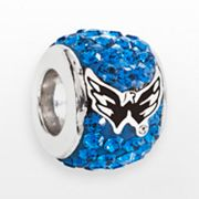 LogoArt Washington Capitals Sterling Silver Crystal Logo Bead - Made with Swarovski Crystals