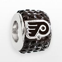 LogoArt Philadelphia Flyers Sterling Silver Crystal Logo Bead - Made with Swarovski Crystals