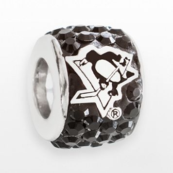 LogoArt Pittsburgh Penguins Sterling Silver Crystal Logo Bead - Made with Swarovski Crystals
