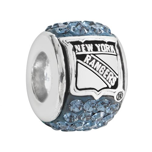 LogoArt New York Rangers Sterling Silver Crystal Logo Bead - Made with Swarovski Crystals