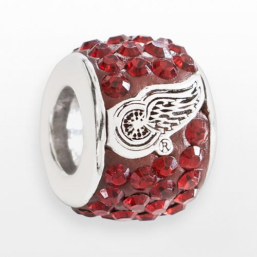 LogoArt Detroit Red Wings Sterling Silver Crystal Logo Bead - Made with Swarovski Crystals