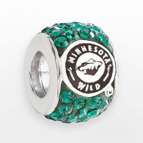 LogoArt Minnesota Wild Sterling Silver Crystal Logo Bead - Made with Swarovski Crystals