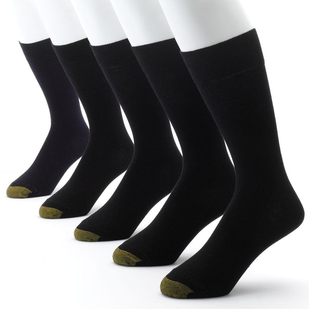 Men's GOLDTOE 5-pk. Solid Flat-Knit Dress Socks