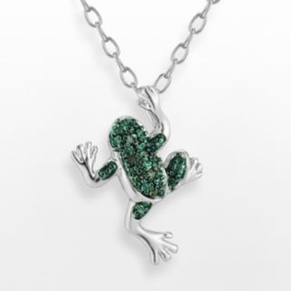 Silver Plated Green Diamond Accent Frog Pendant