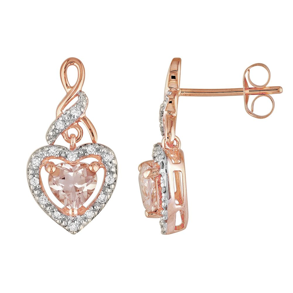 Stella Grace 10k Rose Gold 1/8-ct. T.W. Diamond and Morganite Heart Drop Earrings