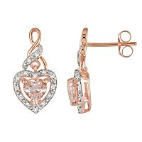 10k Rose Gold 1/8 ctT.W. Diamond & Morganite Heart Drop Earrings