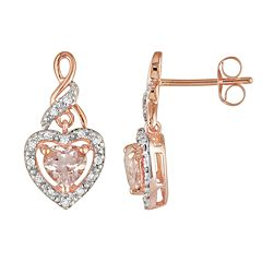 10k Rose Gold 1/8-ct. T.W. Diamond & Morganite Heart Drop Earrings