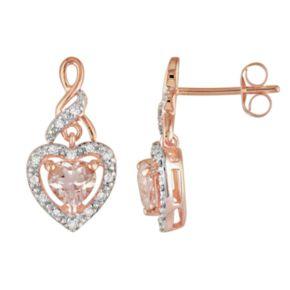 10k Rose Gold 1/8-ct. T.W. Diamond and Morganite Heart Drop Earrings