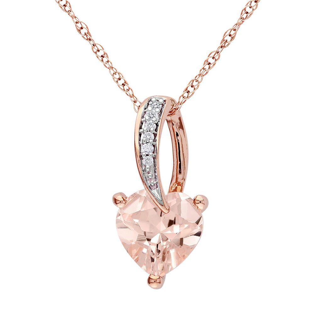 10k Rose Gold Morganite & Diamond Accent Heart Pendant