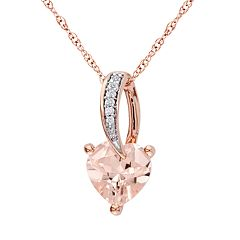 Stella Grace 10k Rose Gold Morganite and Diamond Accent Heart Pendant