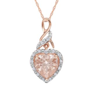 10k Rose Gold Morganite and Diamond Accent Heart Pendant