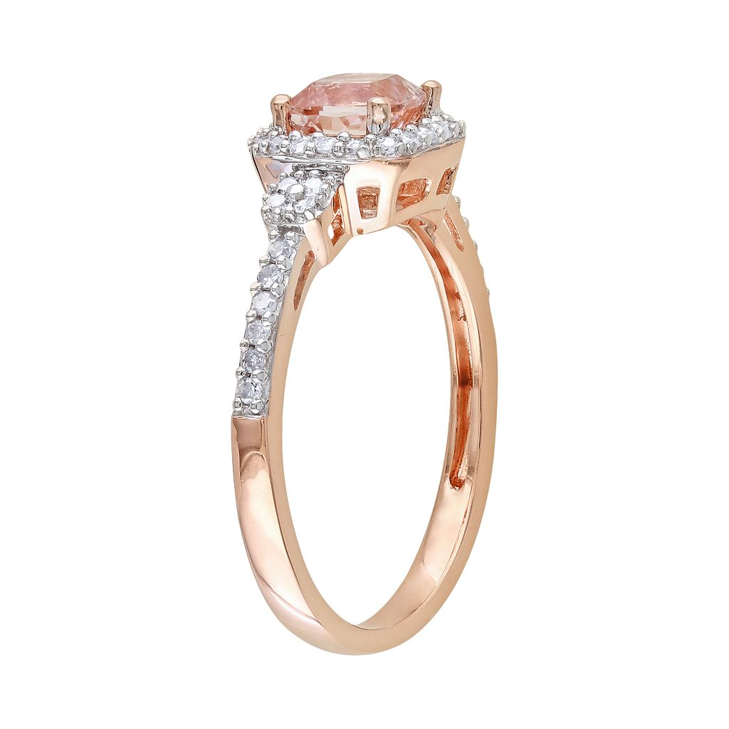 10k Rose Gold 1/5-ct. T.W. Diamond and Morganite Ring
