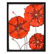 Framed Metal Flowers Wall Decor