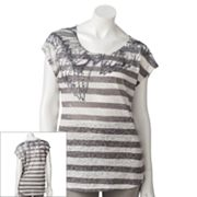 Rock and Republic Striped Wing Burnout Tee