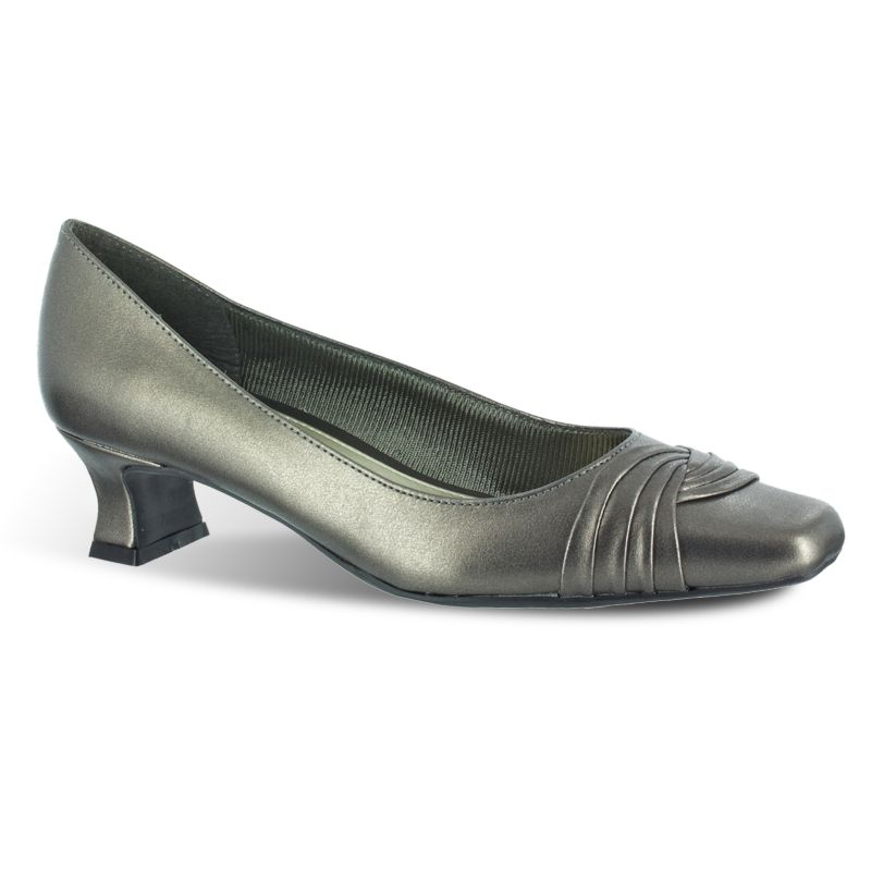 Pewter Low Heel Dress Shoes And Sandals