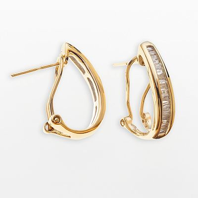 10k Gold 1/2-ct. T.W. Diamond Omega Hoop Earrings