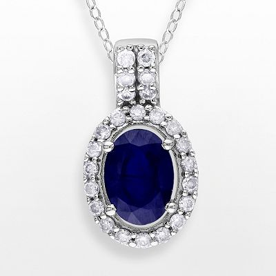 10k White Gold 1/5-ct. T.W. Diamond and Sapphire Pendant