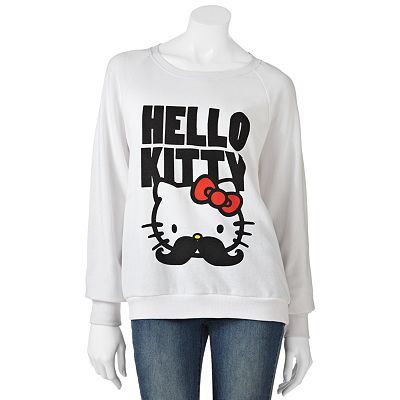 Mighty Fine Hello Kitty Mustache Sweatshirt - Juniors
