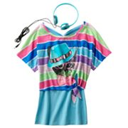 Self Esteem Striped Cool Cat Crop Top Set - Girls 7-16