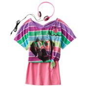Self Esteem Striped Dog Crop Top Set - Girls 7-16