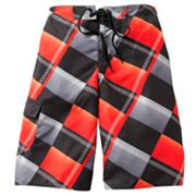 Hang Ten Bias Plaid Cargo Swim Trunks - Boys 8-20