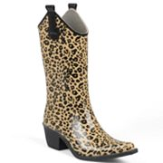 Journee Collection Leopard Cowboy Rain Boots - Women