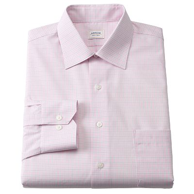 Arrow Classic-Fit Checked No-Iron Spread-Collar Dress Shirt