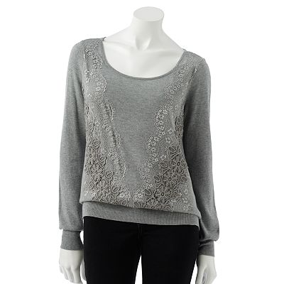 LC Lauren Conrad Embroidered Lace Sweater