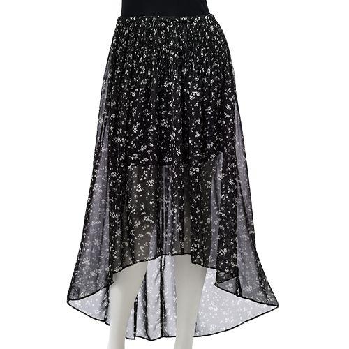 LC Lauren Conrad Floral Hi-Low Chiffon Skirt