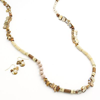 SONOMA life + style Bead Long Necklace and Drop Earring Set