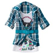 Knitworks Belted Mock-Layer Plaid Dog Top - Girls 7-16