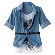 Knitworks Belted Mock-Layer Friendship Top - Girls 7-16