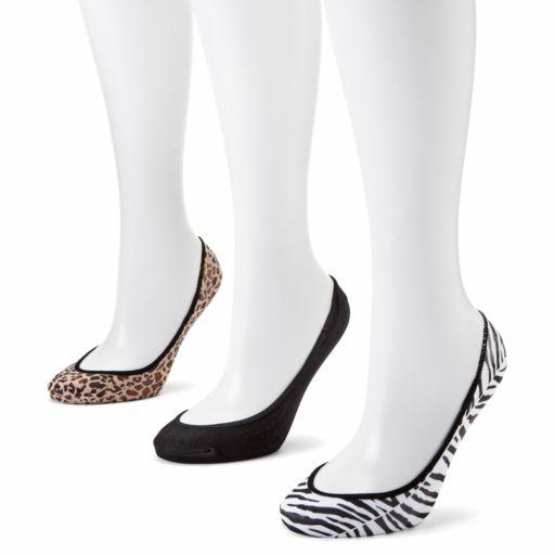Apt. 9® 3-pk. Zebra and Leopard No-Show Liner Socks
