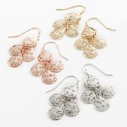 daisy fuentes Tri-Tone Textured Filigree Kite Earring Set