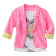 Knitworks Neon Lace Blazer and Floral Heart Tank Set - Girls 7-16