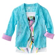 Knitworks Neon Lace Blazer and Horse Tank Set - Girls 7-16