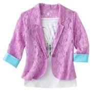 Knitworks Lace Blazer and Butterfly Tank Set - Girls 7-16