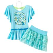 Knitworks Peace Sign Top and Dot Scooter Set - Girls 7-16