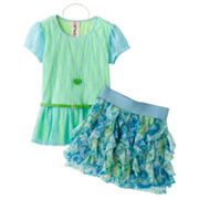 Knitworks Mock-Layer Floral Lace Top and Ruffled Scooter Set - Girls 7-16