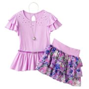 Knitworks Rhinestud Top and Floral Scooter Set - Girls 7-16