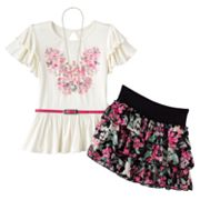 Knitworks Butterfly Top and Floral Scooter Set - Girls 7-16