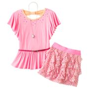 Knitworks Neon Rhinestud Top and Dot Scooter Set - Girls Plus