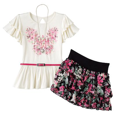Knitworks Butterfly Top and Floral Scooter Set - Girls Plus