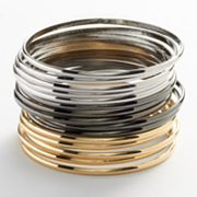 daisy fuentes Tri-Tone Bangle Bracelet Set