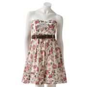City Triangles Floral Strapless Fit and Flare Dress - Juniors