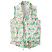 Candie's Flamingo Tie-Front Mock-Layer Top - Girls 7-16